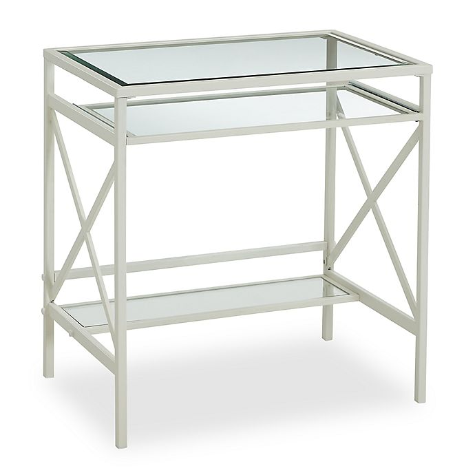 Alternate image 1 for Southern Enterprises Elvan Metal/Glass Small-Space Desk in White