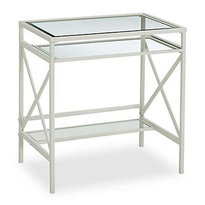 Southern Enterprises Elvan Metal/Glass Small-Space Desk in White