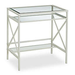 Southern Enterprises Elvan Metal/Glass Small-Space Desk in White