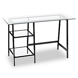 Southern Enterprises Avery Metal/Glass Sawhorse/A-Frame Writing Desk in Black