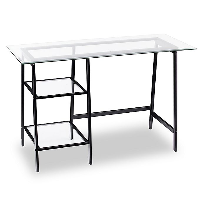 Alternate image 1 for Southern Enterprises Avery Metal/Glass Sawhorse/A-Frame Writing Desk in Black