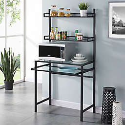 Southern Enterprises Brax Metal/Glass Small-Space Desk with Hutch in Black