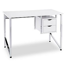 Southern Enterprises Waypoint Writing Desk in White/Chrome