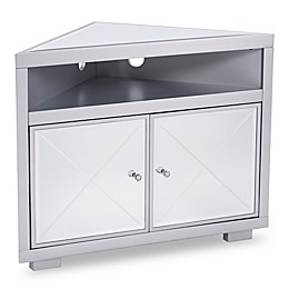 Southern Enterprises Mirage Mirrored Corner TV Stand in Matte Silver