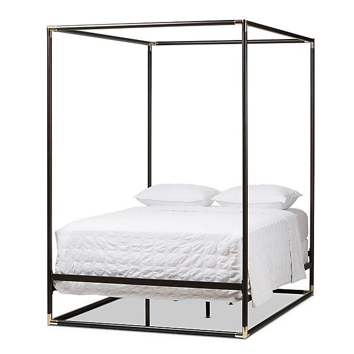 Alternate image 1 for Braxton Studio Eva Queen Metal Canopy Bed with Dark Bronze Matte Finish