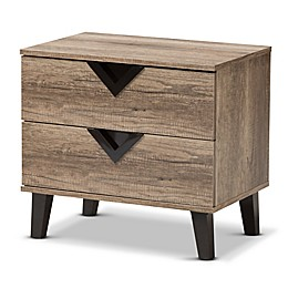 Baxton Studio Swanson 2-Drawer Nightstand in Light Brown
