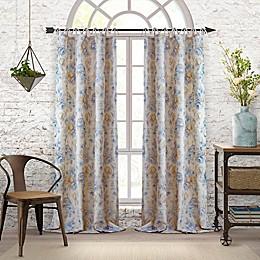 Elrene Annalise Floral Linen Grommet Tie Top Window Curtain Panel