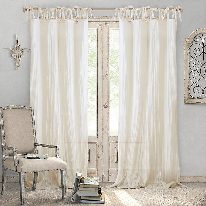 Alternate image 1 for Elrene Home Fashions® Jolie 108-Inch Tie Top Sheer Window Curtain Panel in Ivory