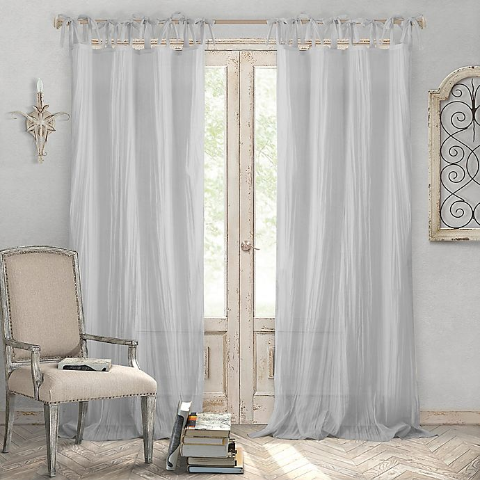 Alternate image 1 for Elrene Home Fashions® Jolie 95-Inch Tie Top Sheer Window Curtain Panel in Grey