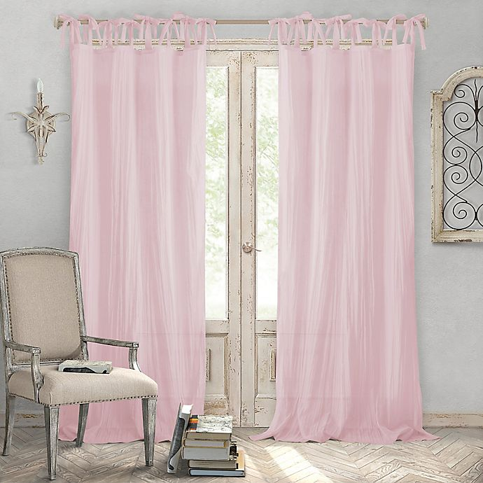 Alternate image 1 for Elrene Home Fashions® Jolie 95-Inch Tie Top Sheer Window Curtain Panel in Blush