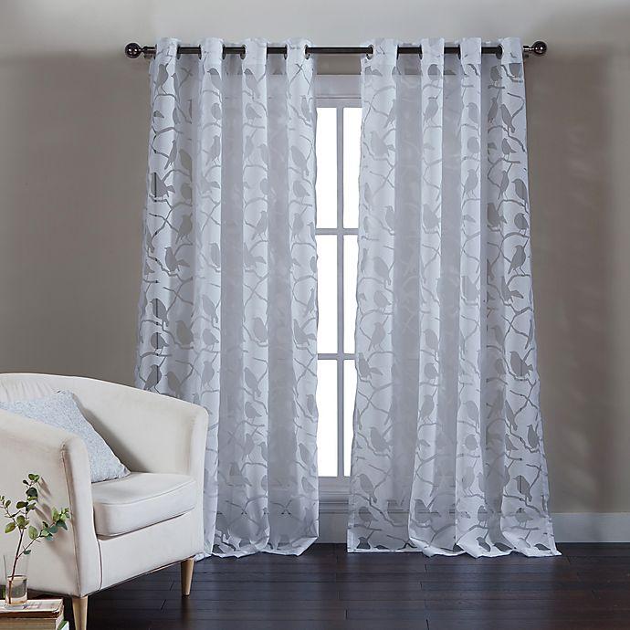 Kensie Jaye 96 Inch Grommet Top Burnout Window Curtain Panel Pair In
