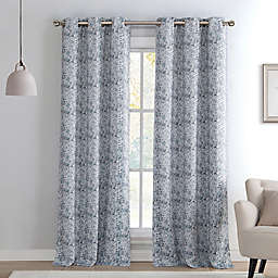Kensie Mae Sequin Grommet Top Room Darkening Window Curtain Panel Pair In Silver