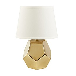 Madison Park Capri Table Lamp in Gold with Cotton Shade with CFL Bulb