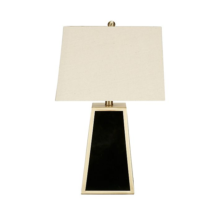 Alternate image 1 for Madison Park Paramount Table Lamp in Black with Fabric Shade with CFL Bulb