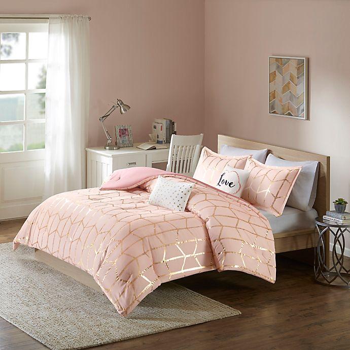 Alternate image 1 for Intelligent Design Raina 4-Piece Twin/Twin XL Comforter Set in Blush/Gold