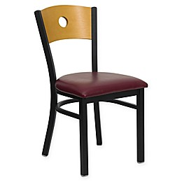 Flash Furniture Circle Back Metal and Natural Wood Chair with Burgundy Vinyl Seat