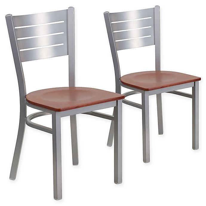 Alternate image 1 for Flash Furniture Slat Back Silver Metal Chairs with Cherry Wood Seats (Set of 2)