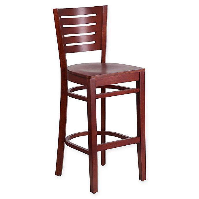 Alternate image 1 for Flash Furniture Slat Back 43.75-Inch Mahogany Wood Stool