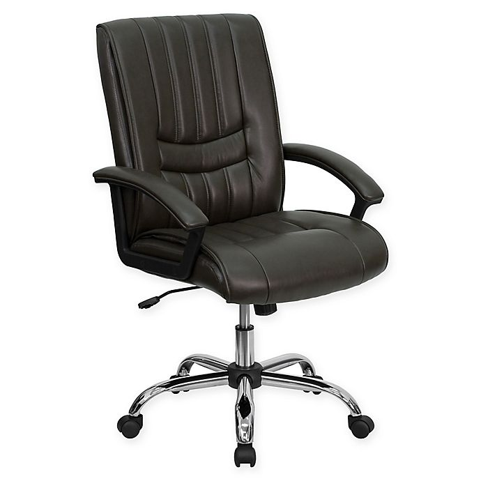 Alternate image 1 for Flash Furniture Stitched Bonded-Leather Office Chair in Espresso