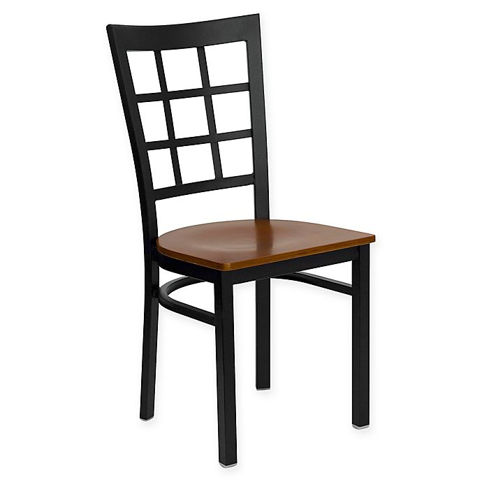 Alternate image 1 for Flash Furniture Window Back Metal Dining Chair with Wood Seat