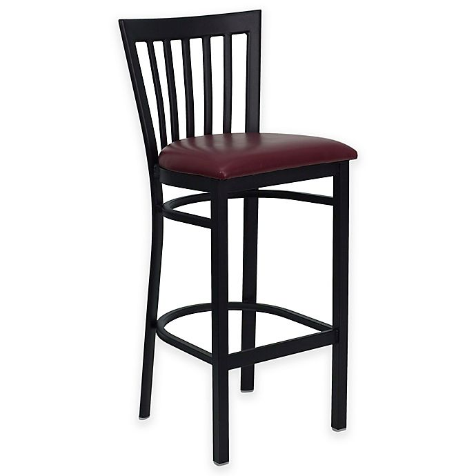 Alternate image 1 for Flash Furniture Schoolhouse Back Metal Bar Stool with Vinyl Seat in Burgundy/ Black