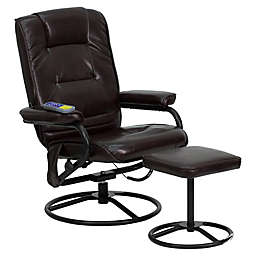 Flash Furniture 39-Inch Bonded Leather Massaging Recliner in Brown