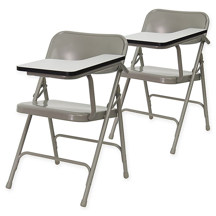 Alternate image 1 for Flash Furniture 30-Inch Steel Folding Chairs with Left Handed Tablet Arms in Beige (Set of 2)