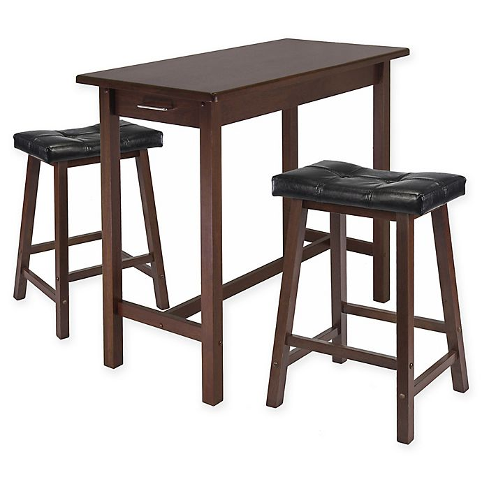 Alternate image 1 for Winsome Sally 3-Piece Breakfast Table Set in Antique Walnut/Black