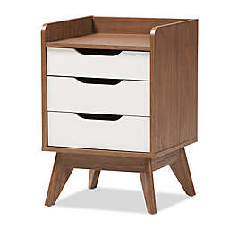 Baxton Studio Brightron 3-Drawer Nightstand in Walnut/White