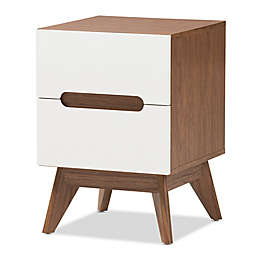 Baxton Studio Calypso 2-Drawer Nightstand in Walnut/White