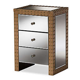 Baxton Studio Azura Rustic 3-Drawer Mirrored Nightstand in Silver