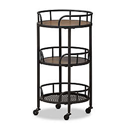 Baxton Studio Bristol Rustic Metal and Wood Rolling Kitchen Cart in Black/Brown