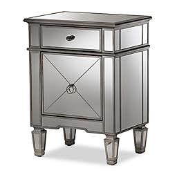 Baxton Studio Claudia Mirrored Nightstand in Silver