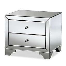 Baxton Studio Farrah 2-Drawer Mirrored Nightstand in Silver