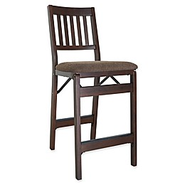 Stakmore Bonded Leather Folding Counter Stools with Espresso Finish (Set of 2)