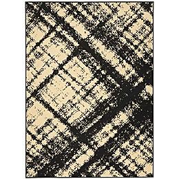 Nourison Grafix Machine Woven Area Rug in Cream Black