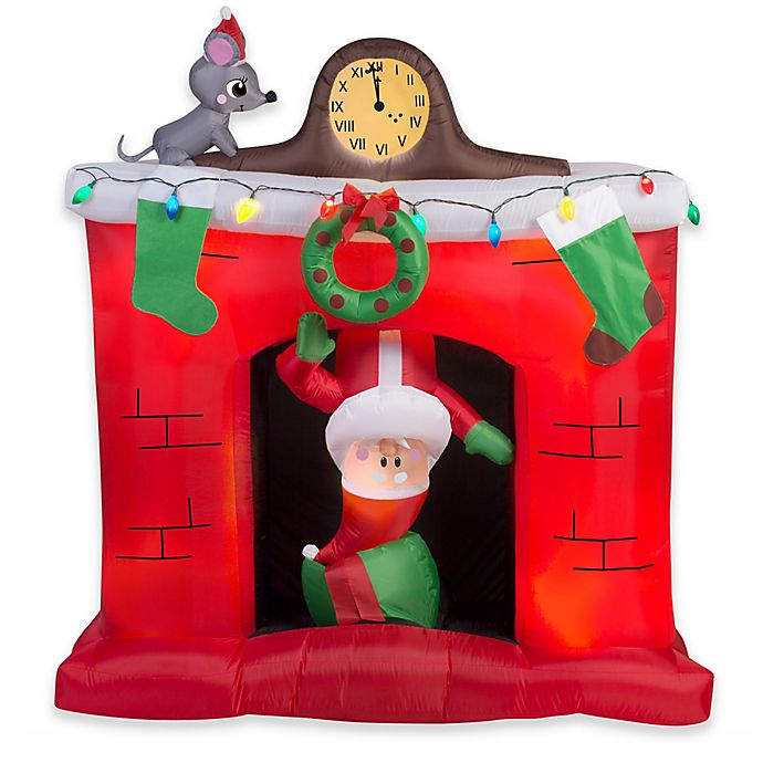 Alternate image 1 for Gemmy Chimney Santa 66-Inch Airblown® Inflatable Lawn Character