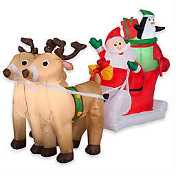Gemmy Santa and Reindeer 96-Inch Airblown® Inflatable Lawn Character
