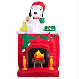 Gemmy Snoopy on Fireplace 84-Inch Airblown® Inflatable Lawn Character