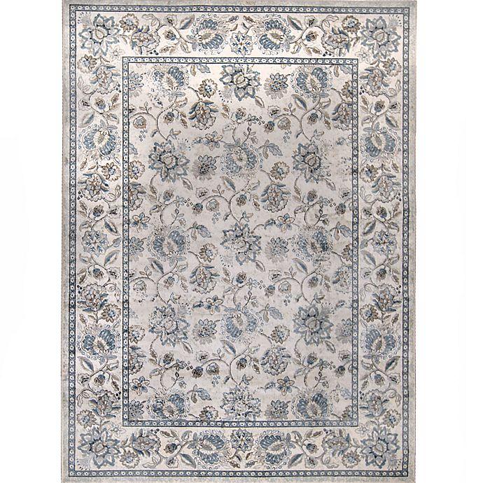 Verona Floral Rug in Ivory/Blue | Bed