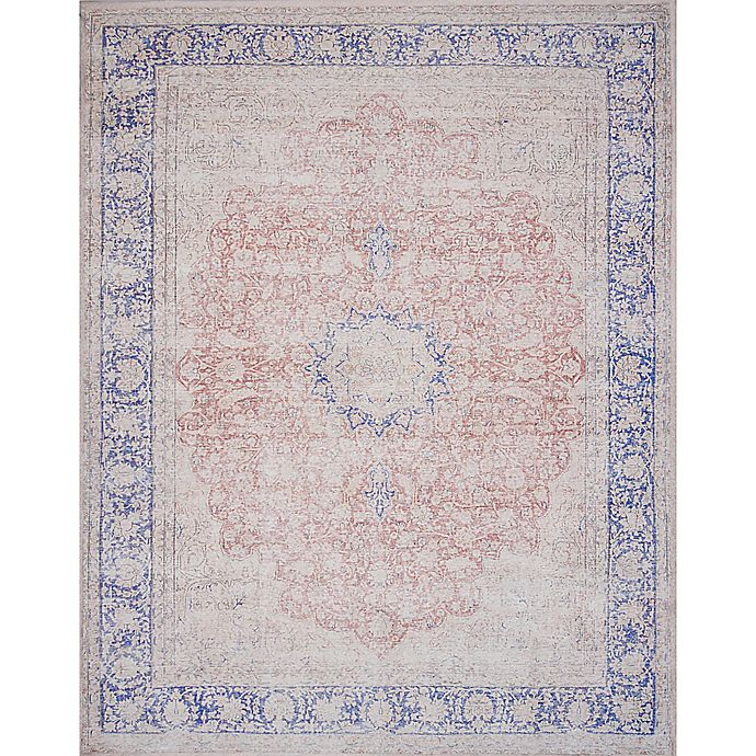 Alternate image 1 for Magnolia Home by Joanna Gaines Lucca 3-Foot 9-Inch x 5-Foot 6-Inch Area Rug in Terracotta/Blue