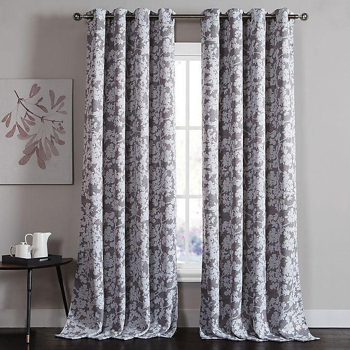 Alternate image 1 for Kensie Ainna 84-Inch Rod Pocket Window Curtain Panel Pair in Grey