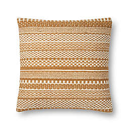 Magnolia Home by Joanna Gaines Mikey Square Throw Pillow in Gold/Ivory