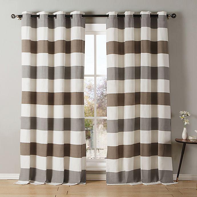 Alternate image 1 for Kensie Iouri 84-Inch Grommet Top Window Curtain Panel Pair in Grey/Latte