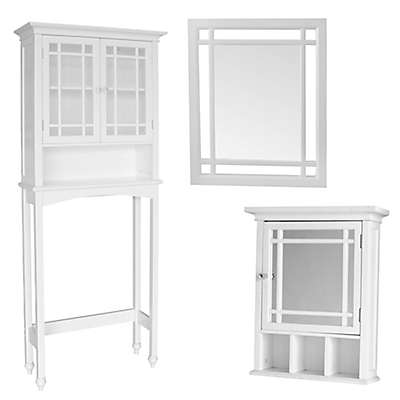 Elegant Home Fashions Hadley Bathroom Décor and Cabinet Collection in White