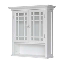 elegant home fashions hadley 2 door wall cabinet in white - Wall Mounted Bathroom Cabinet