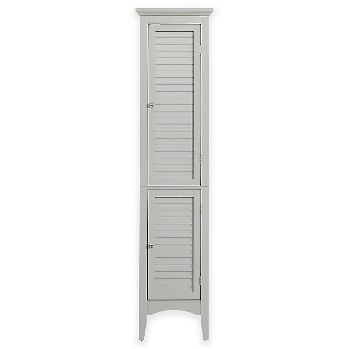 Alternate image 1 for Elegant Home Fashions Hanna Linen Tower Cabinet with 2 Shutter Doors in Grey