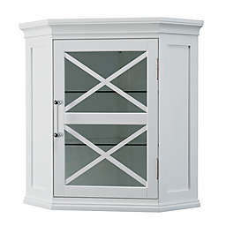 Elegant Home Fashions Hugo Corner Wall Cabinet In White