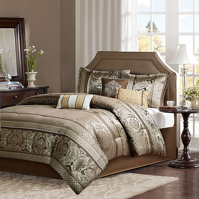 Alternate image 1 for Madison Park Bellagio 7-Piece Jacquard King Comforter Set in Brown