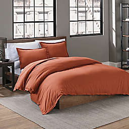 Keeco Garment Washed Solid 2-Piece Twin/Twin XL Duvet Cover Set in Burnt Orange